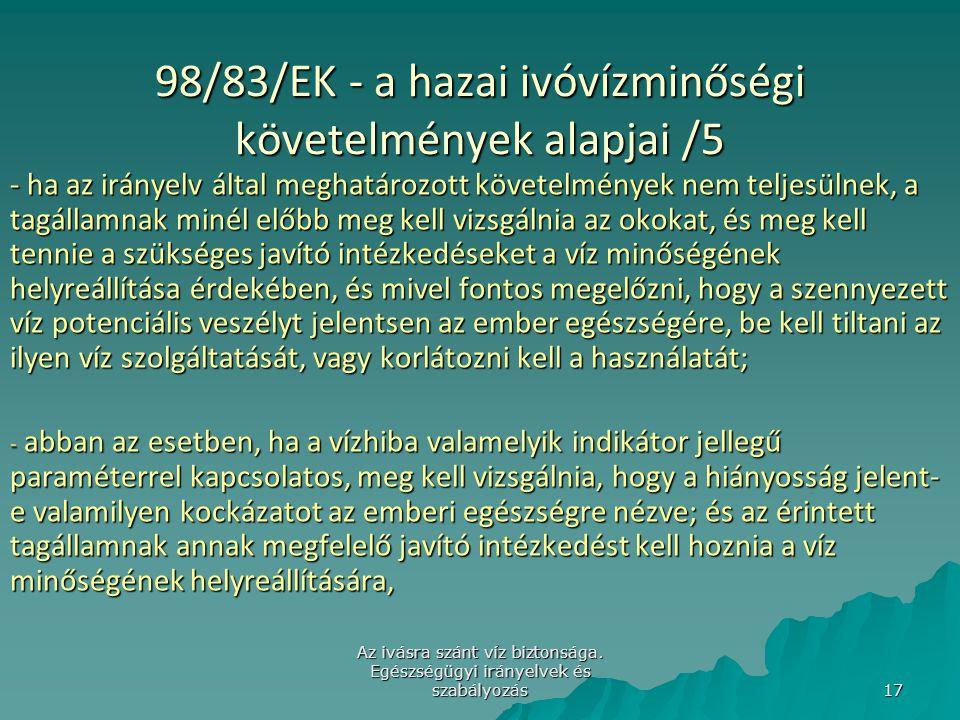 98/83/EK - a hazai ivóvízminőségi követelmények alapjai /5