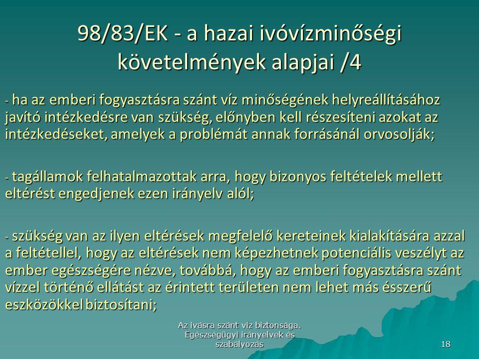 98/83/EK - a hazai ivóvízminőségi követelmények alapjai /4
