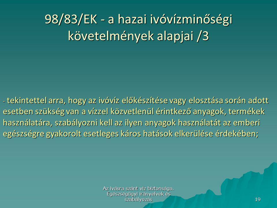 98/83/EK - a hazai ivóvízminőségi követelmények alapjai /3