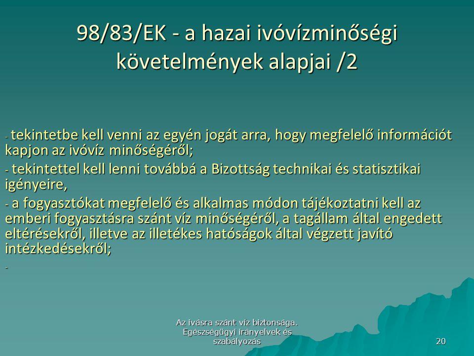 98/83/EK - a hazai ivóvízminőségi követelmények alapjai /2