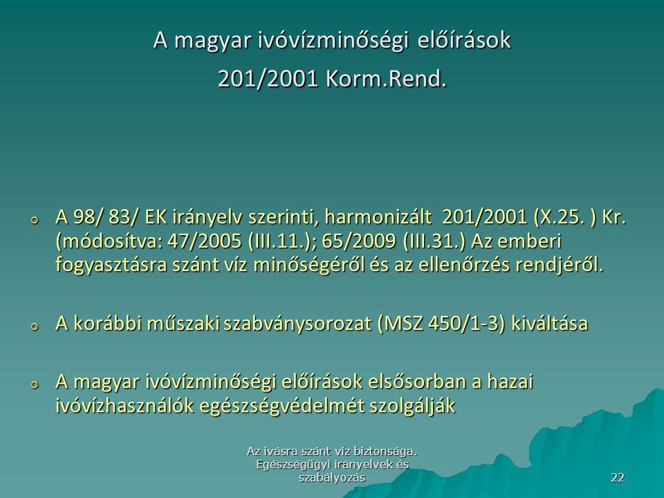 A magyar ivóvízminőségi előírások 201/2001 Korm.Rend.