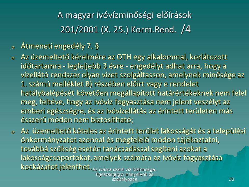 A magyar ivóvízminőségi előírások 201/2001 (X. 25.) Korm.Rend. /4