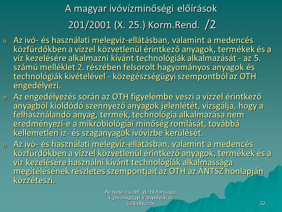 A magyar ivóvízminőségi előírások 201/2001 (X. 25.) Korm.Rend. /2