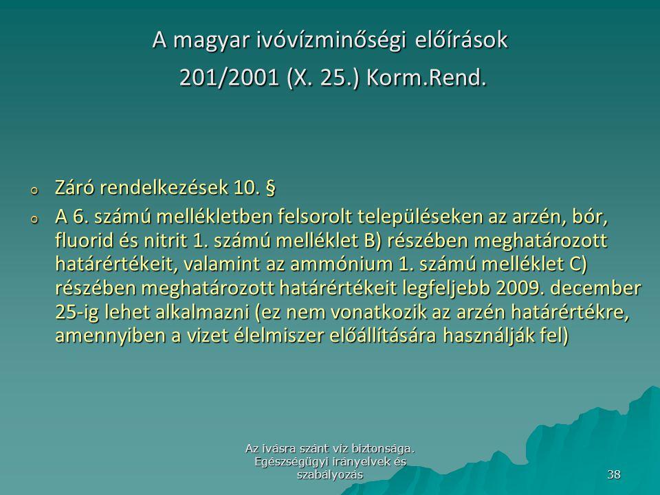 A magyar ivóvízminőségi előírások 201/2001 (X. 25.) Korm.Rend.
