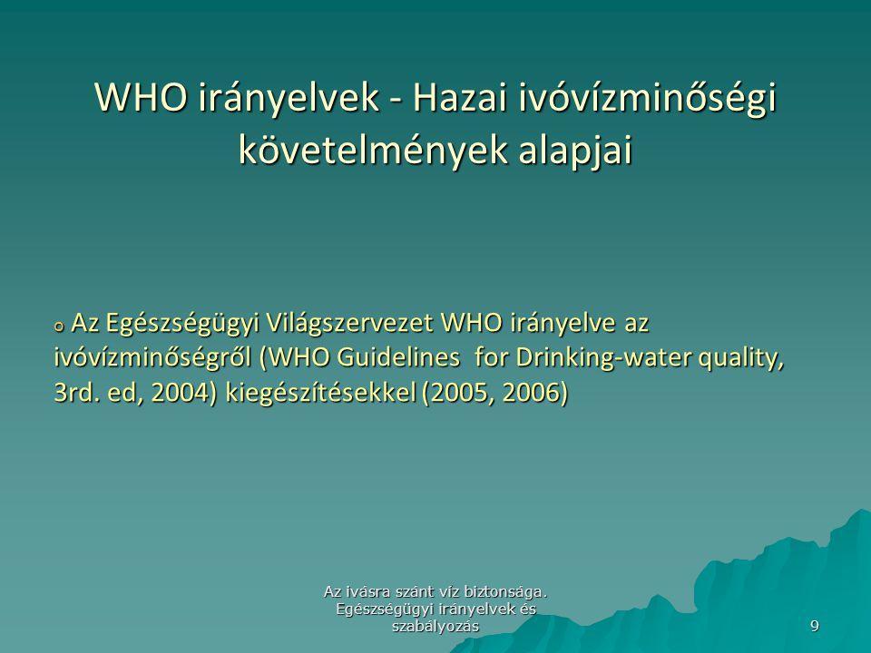 WHO irányelvek - Hazai ivóvízminőségi követelmények alapjai
