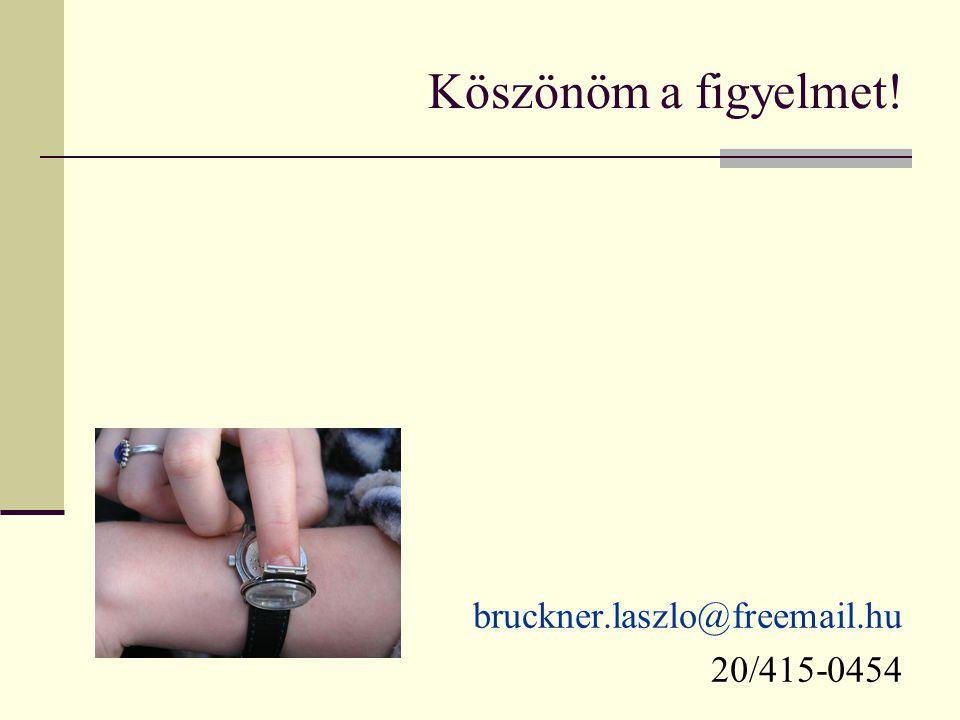 Köszönöm a figyelmet! bruckner.laszlo@freemail.hu 20/415-0454
