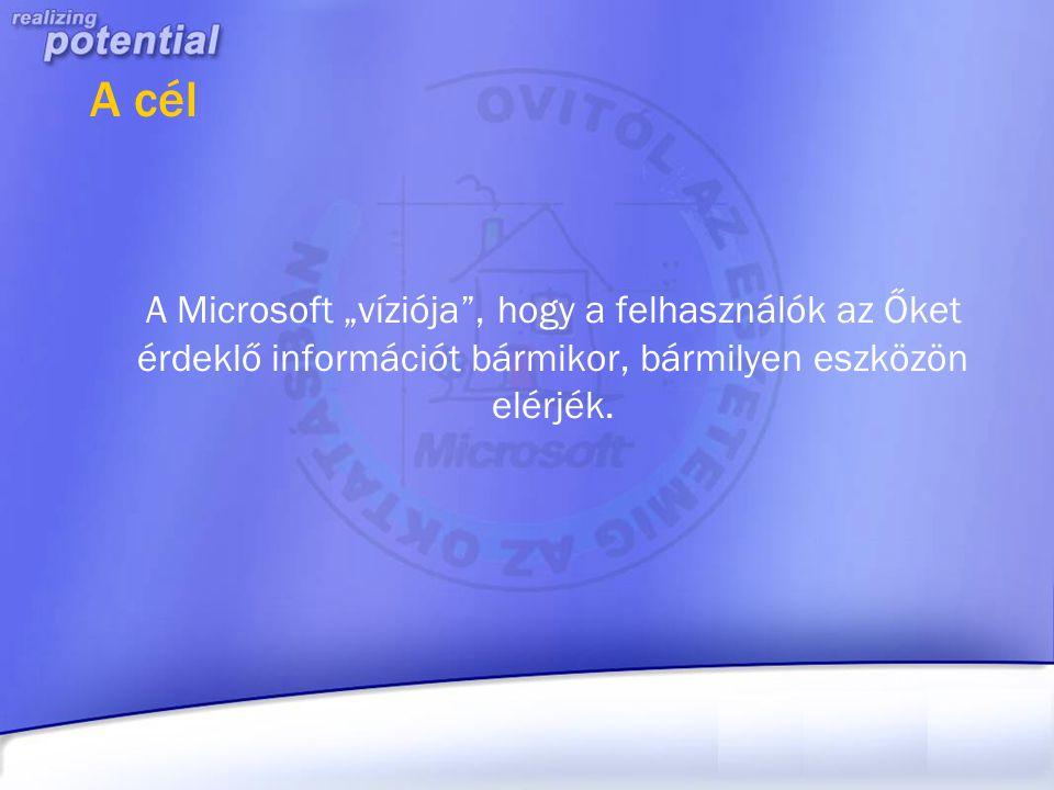 """A cél A Microsoft """"víziója , hogy a felhasználók az Őket érdeklő információt bármikor, bármilyen eszközön elérjék."""