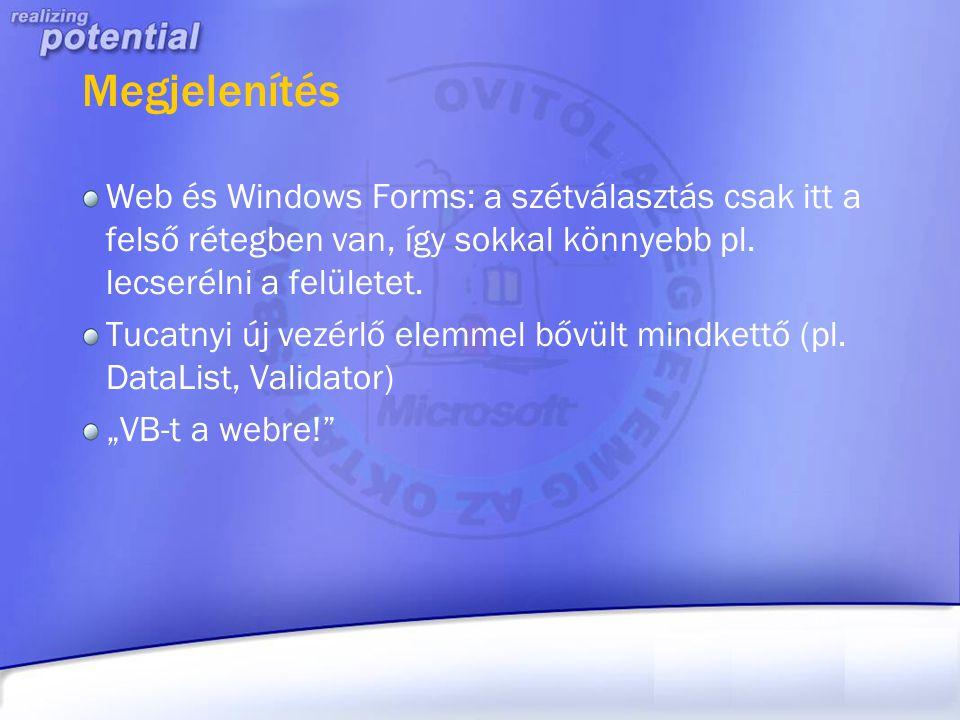 Megjelenítés Web és Windows Forms: a szétválasztás csak itt a felső rétegben van, így sokkal könnyebb pl. lecserélni a felületet.