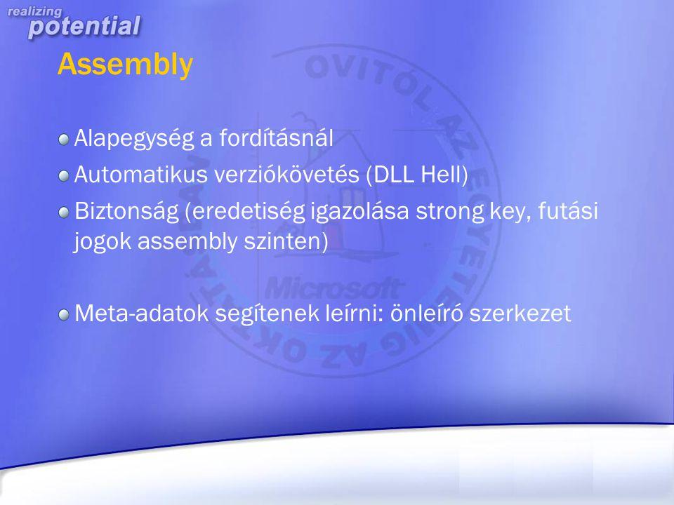 Assembly Alapegység a fordításnál Automatikus verziókövetés (DLL Hell)