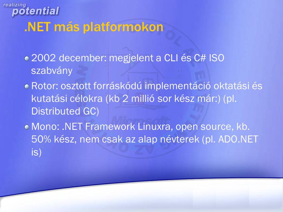 .NET más platformokon 2002 december: megjelent a CLI és C# ISO szabvány.