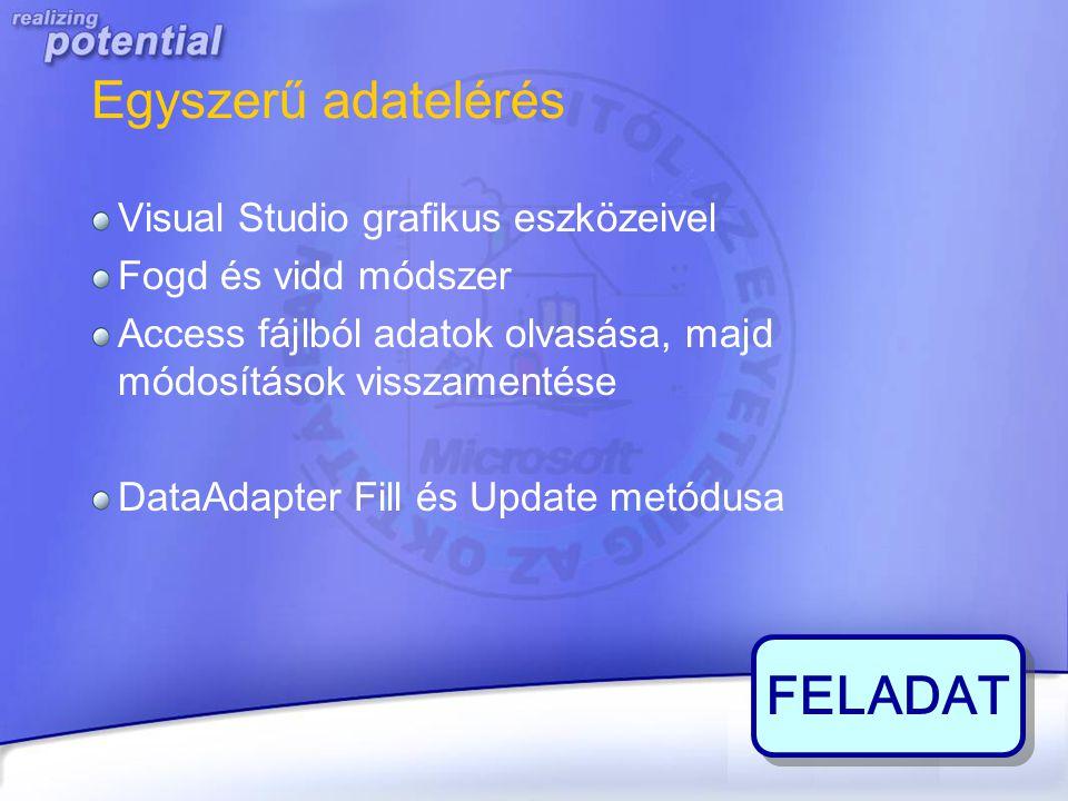 FELADAT Egyszerű adatelérés Visual Studio grafikus eszközeivel