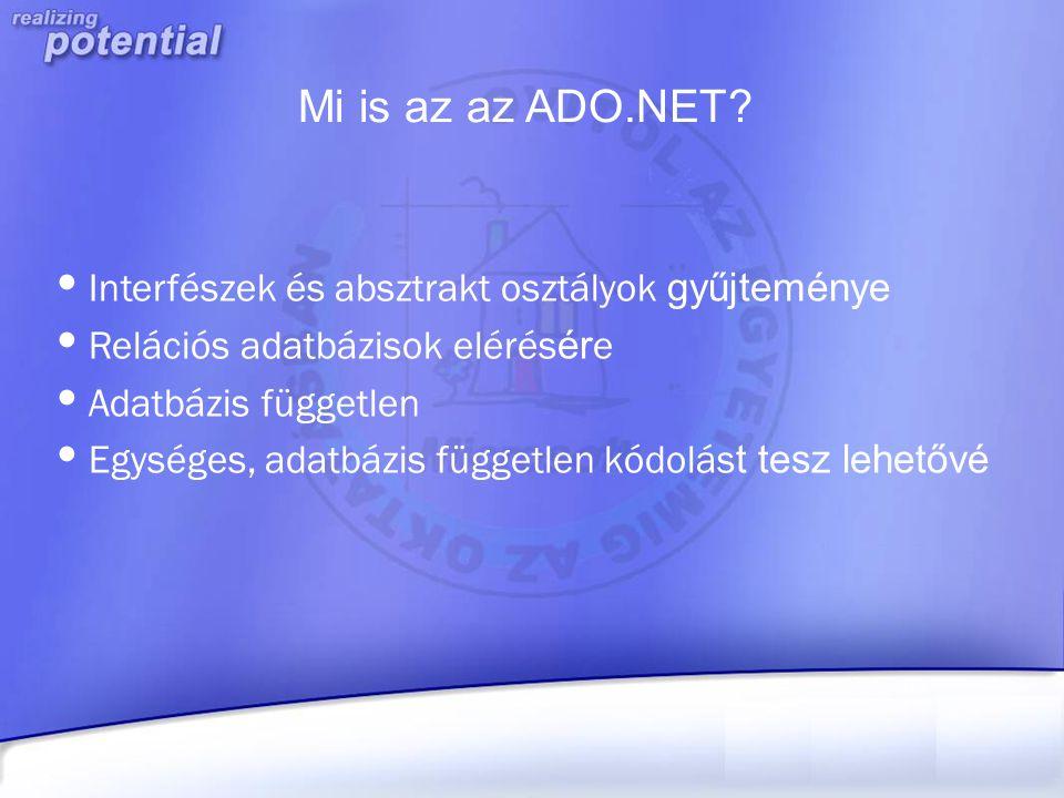 Mi is az az ADO.NET Interfészek és absztrakt osztályok gyűjteménye