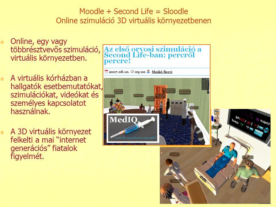 Moodle + Second Life = Sloodle Online szimuláció 3D virtuális környezetbenen