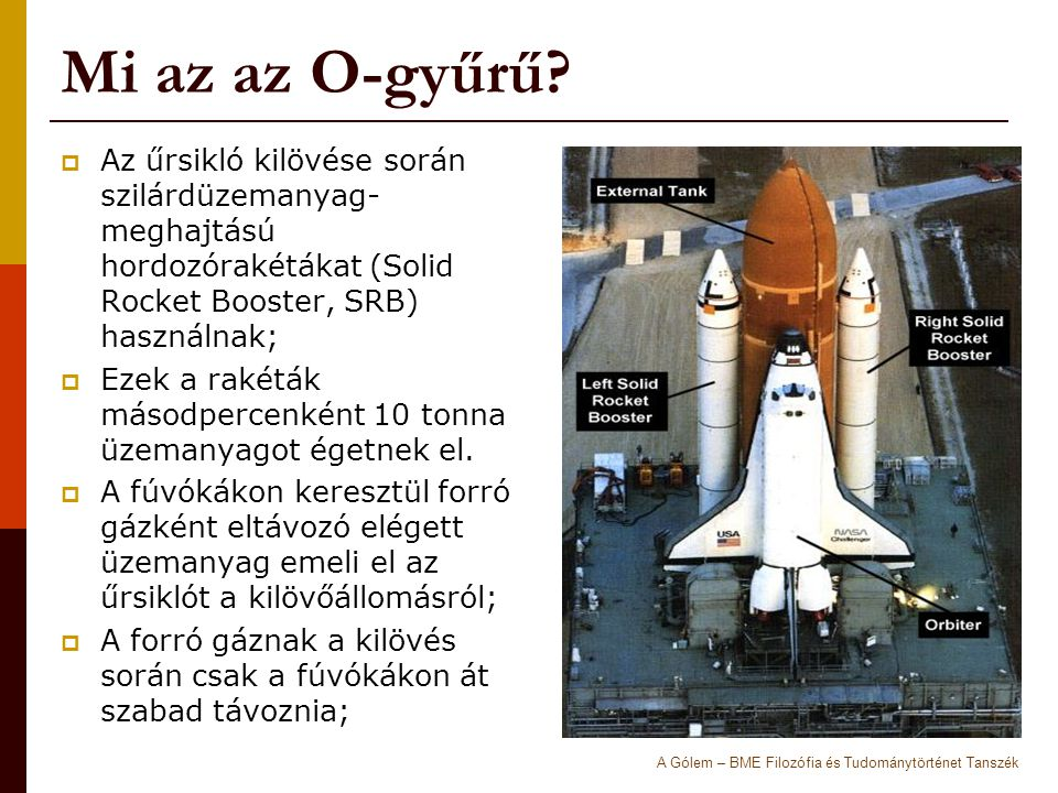 Mi az az O-gyűrű Az űrsikló kilövése során szilárdüzemanyag-meghajtású hordozórakétákat (Solid Rocket Booster, SRB) használnak;