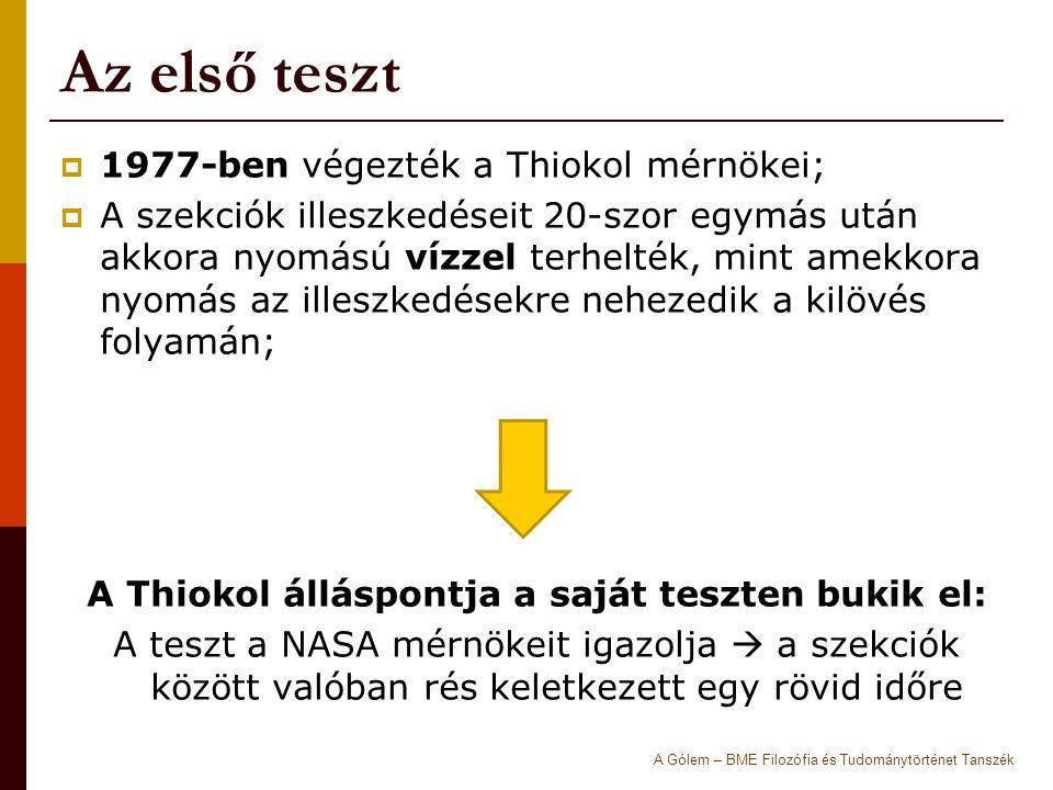 A Thiokol álláspontja a saját teszten bukik el: