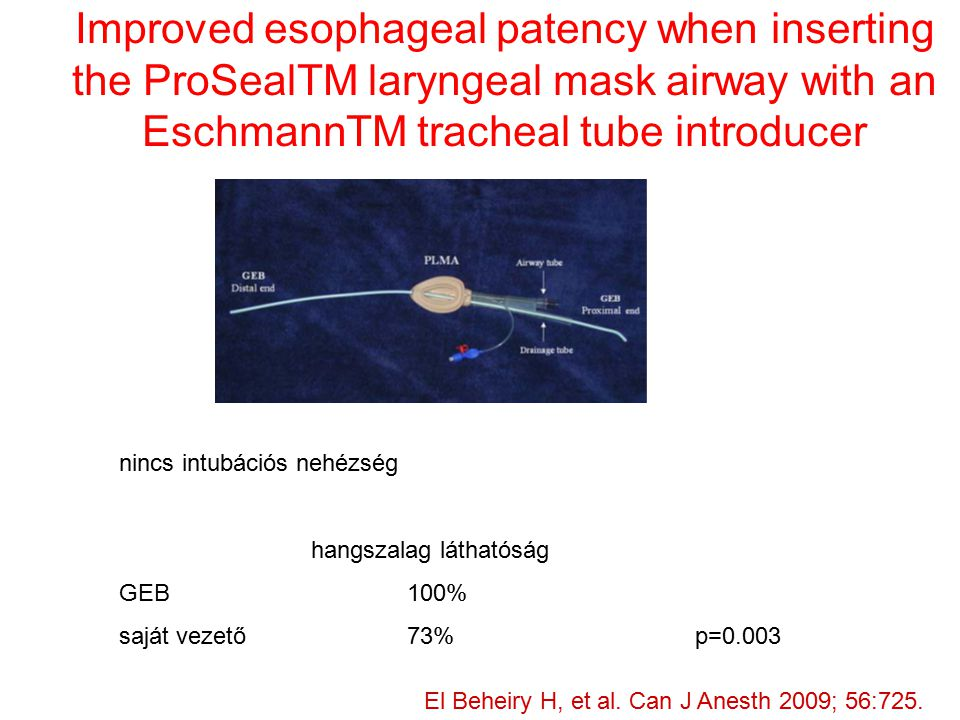 Improved esophageal patency when inserting the ProSealTM laryngeal mask airway with an EschmannTM tracheal tube introducer