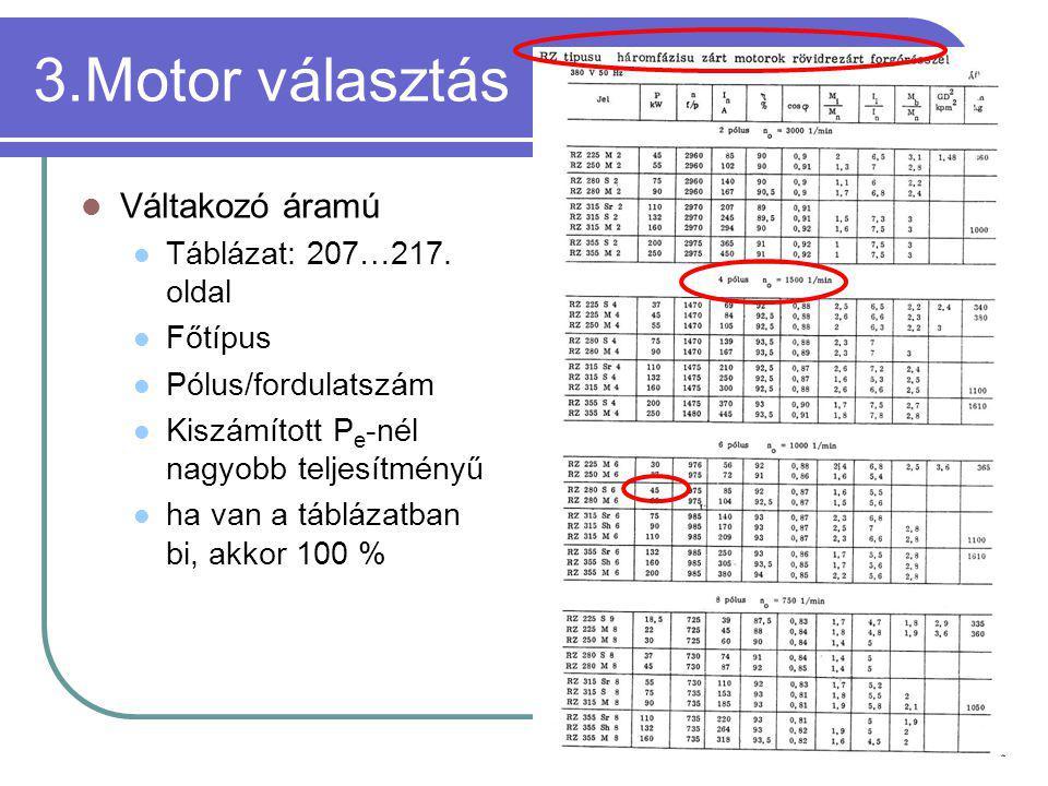 3.Motor választás Váltakozó áramú Táblázat: 207…217. oldal Főtípus
