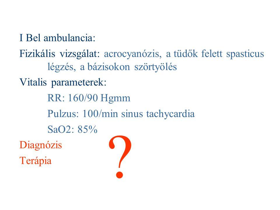 I Bel ambulancia: Fizikális vizsgálat: acrocyanózis, a tüdők felett spasticus légzés, a bázisokon szörtyölés.