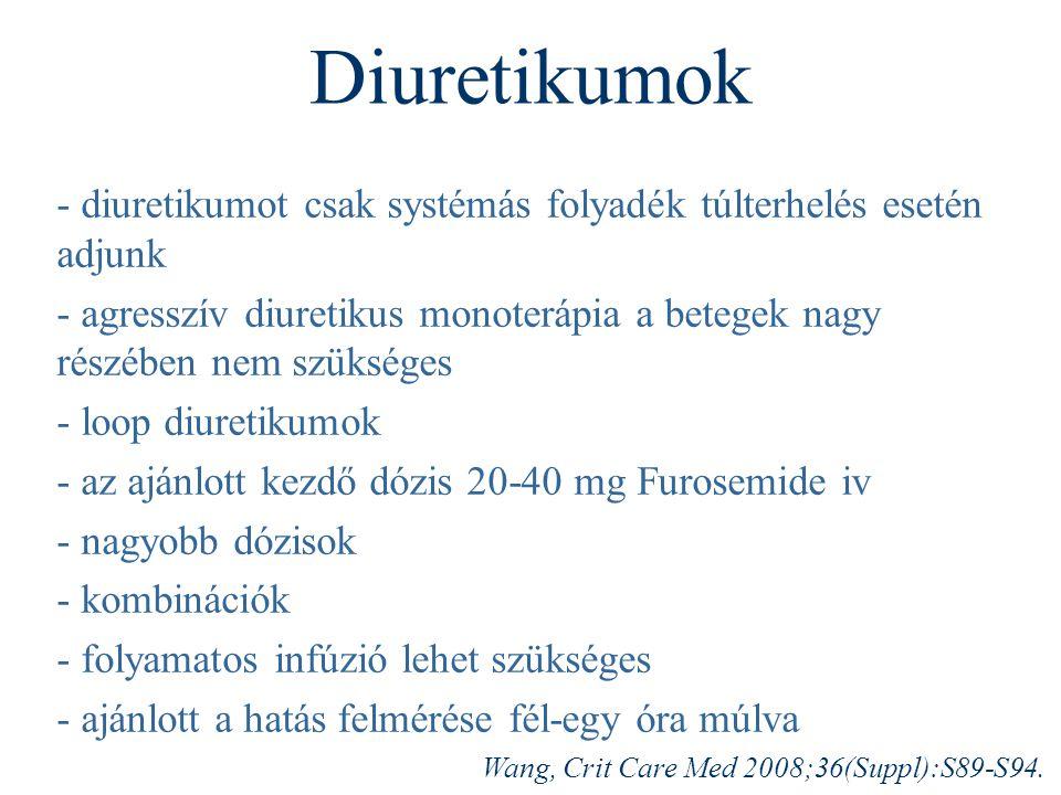 Diuretikumok - diuretikumot csak systémás folyadék túlterhelés esetén adjunk.