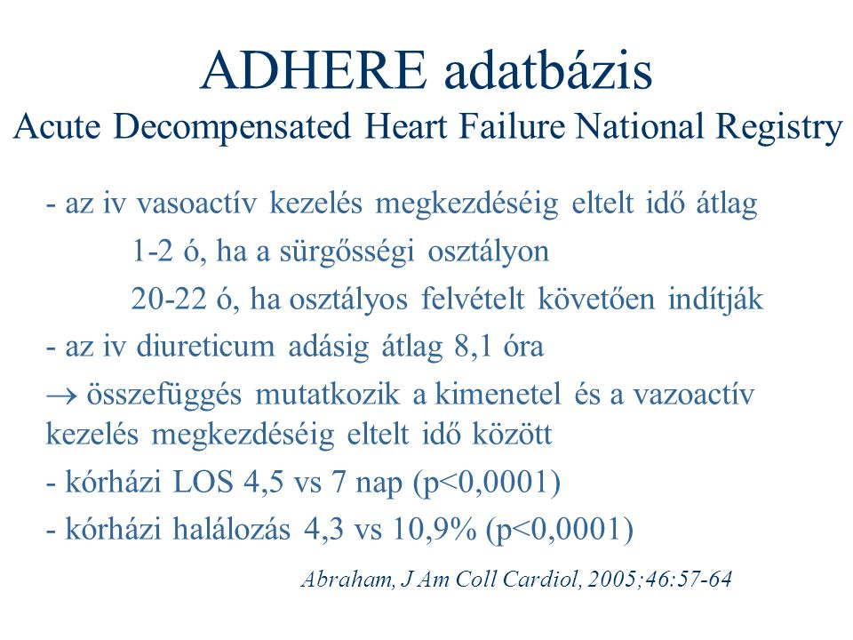 ADHERE adatbázis Acute Decompensated Heart Failure National Registry