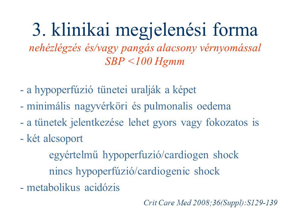 3. klinikai megjelenési forma nehézlégzés és/vagy pangás alacsony vérnyomással SBP <100 Hgmm