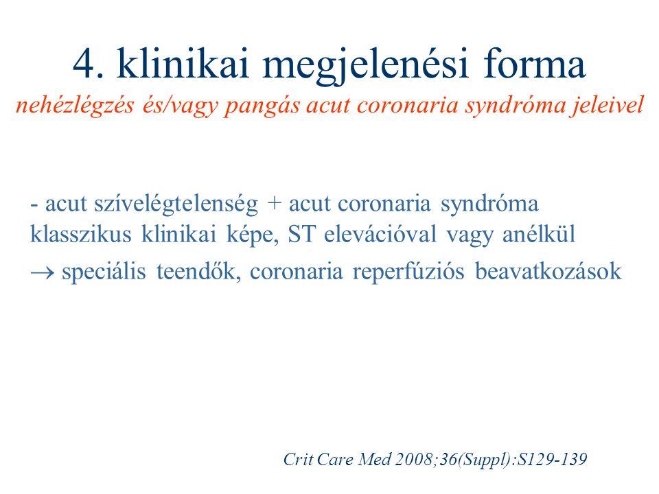 4. klinikai megjelenési forma nehézlégzés és/vagy pangás acut coronaria syndróma jeleivel