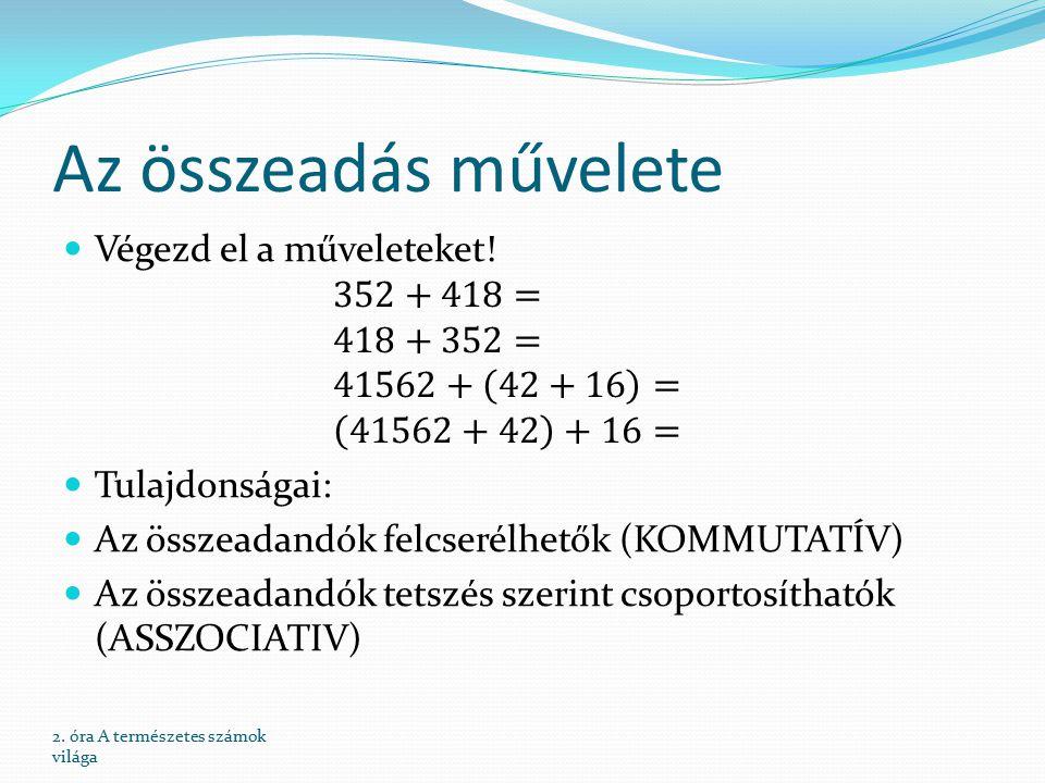 Az összeadás művelete Végezd el a műveleteket! 352+418= 418+352= 41562+ 42+16 = 41562+42 +16= Tulajdonságai: