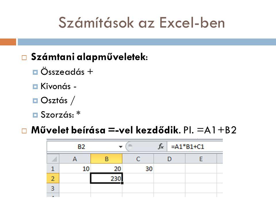 Számítások az Excel-ben