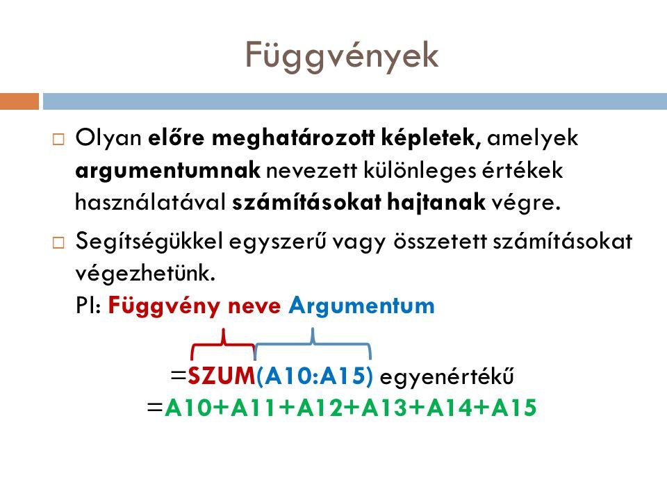 =SZUM(A10:A15) egyenértékű =A10+A11+A12+A13+A14+A15