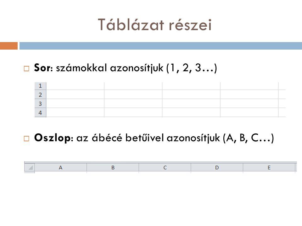 Táblázat részei Sor: számokkal azonosítjuk (1, 2, 3…)