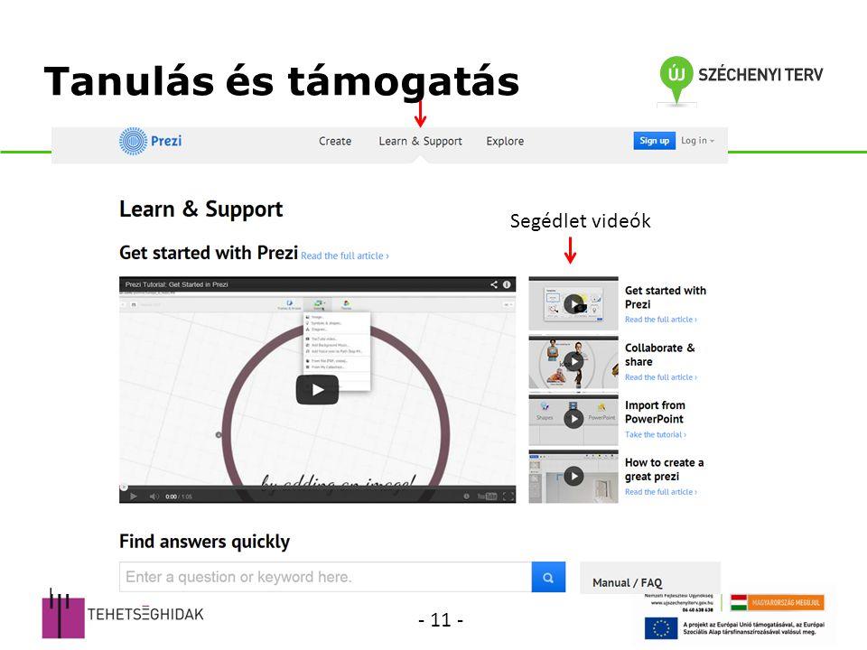 Tanulás és támogatás Segédlet videók - 11 -