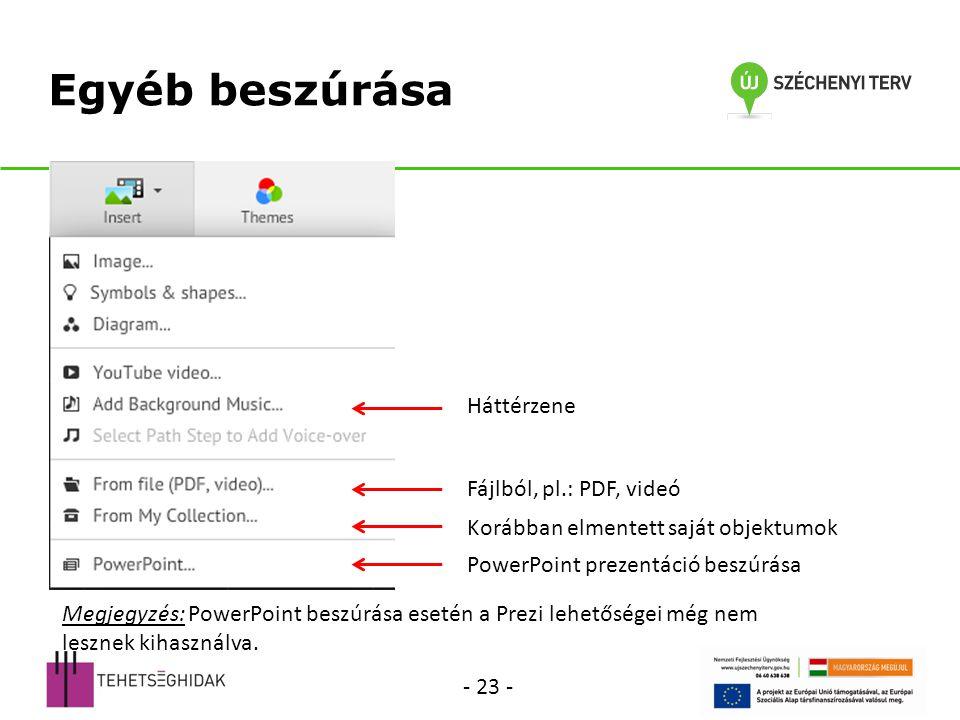 Egyéb beszúrása Háttérzene Fájlból, pl.: PDF, videó