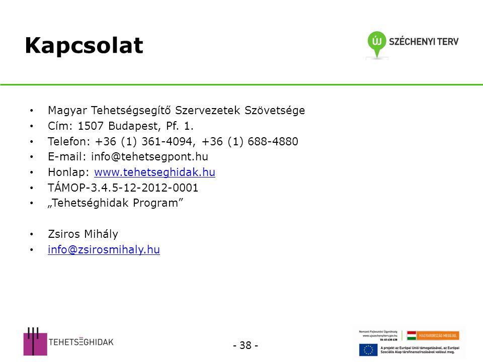 Kapcsolat - 38 - Magyar Tehetségsegítő Szervezetek Szövetsége