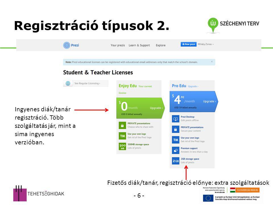 Regisztráció típusok 2. Ingyenes diák/tanár regisztráció. Több szolgáltatás jár, mint a sima ingyenes verzióban.