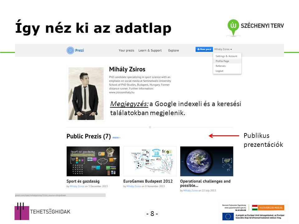 Így néz ki az adatlap Megjegyzés: a Google indexeli és a keresési találatokban megjelenik. Publikus prezentációk.
