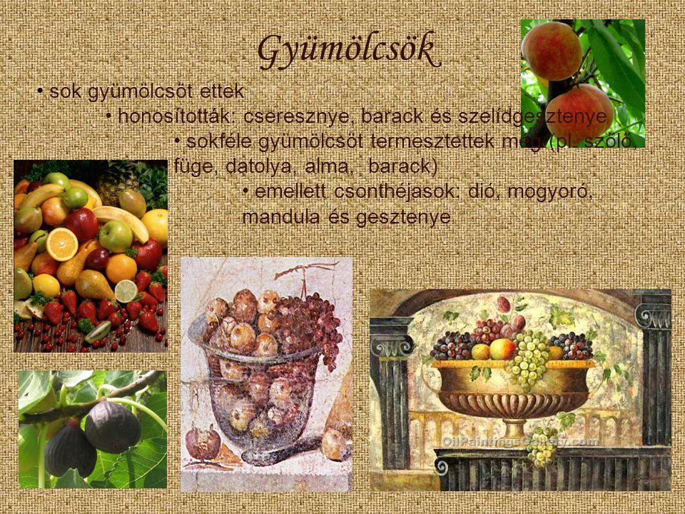 Gyümölcsök sok gyümölcsöt ettek