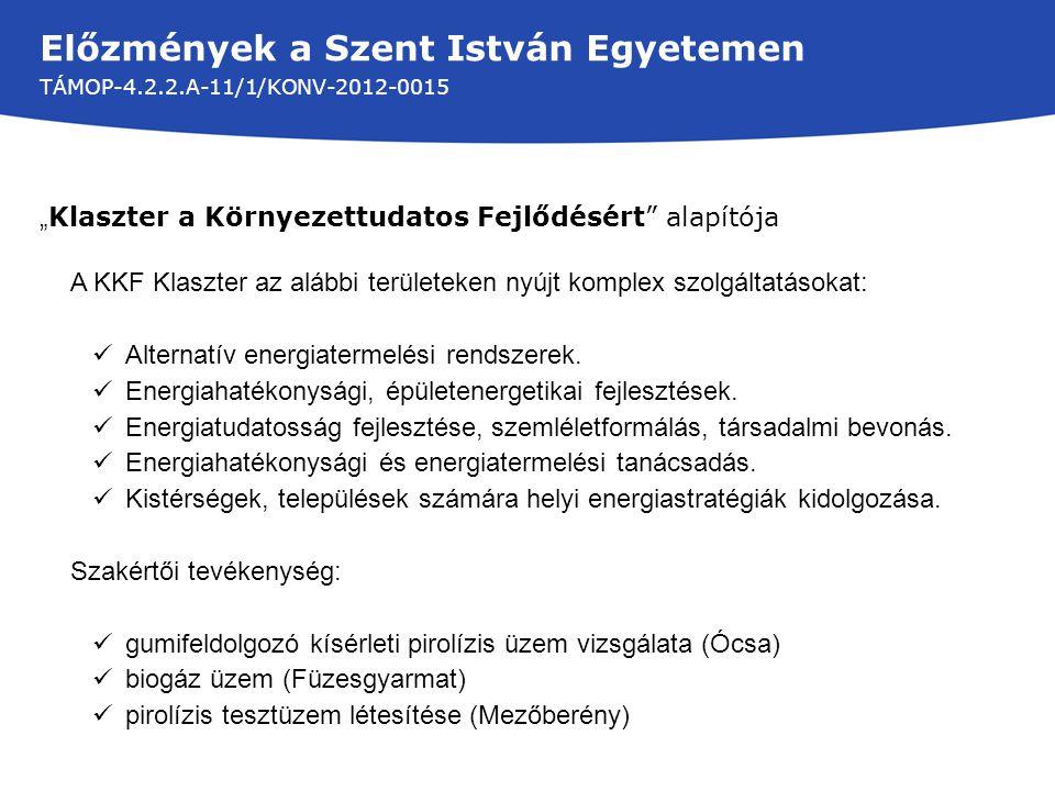 Előzmények a Szent István Egyetemen TÁMOP-4.2.2.A-11/1/KONV-2012-0015