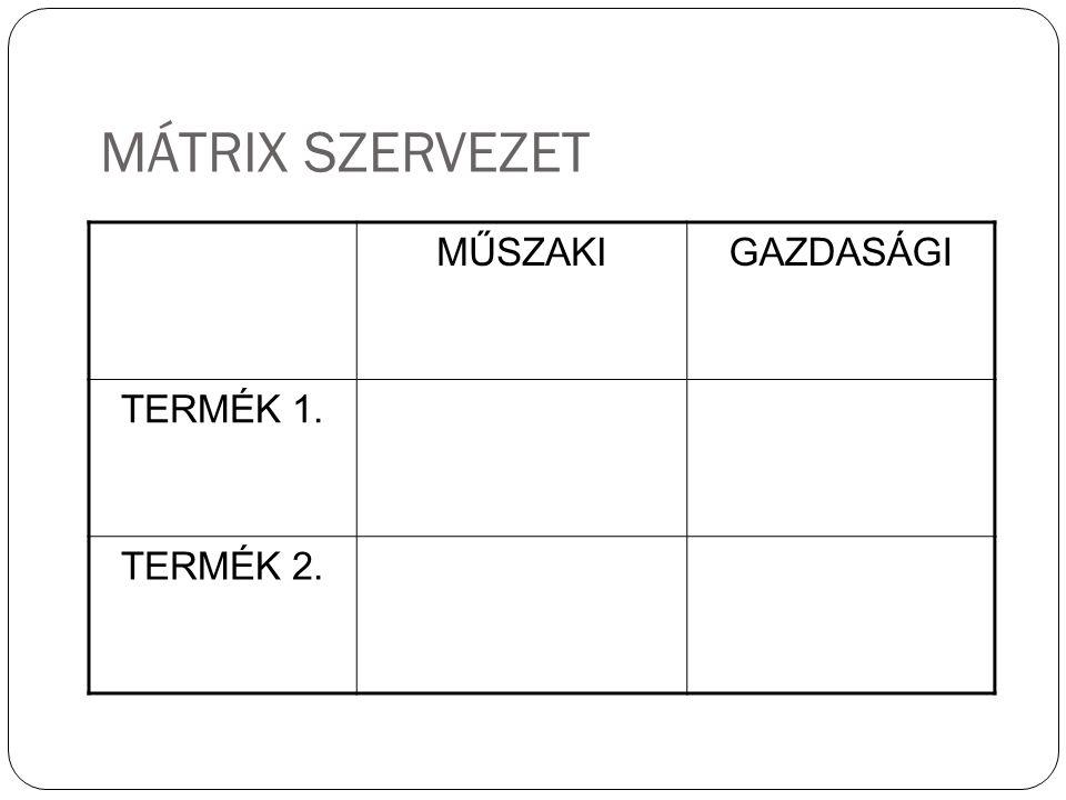 MÁTRIX SZERVEZET MŰSZAKI GAZDASÁGI TERMÉK 1. TERMÉK 2.