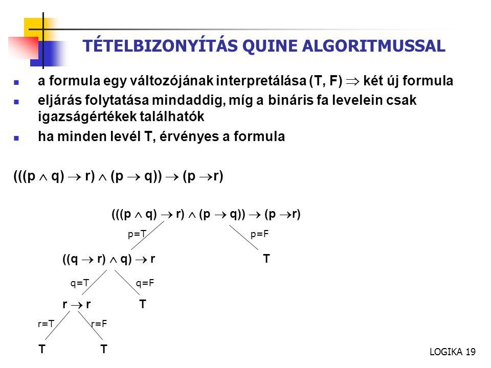TÉTELBIZONYÍTÁS QUINE ALGORITMUSSAL