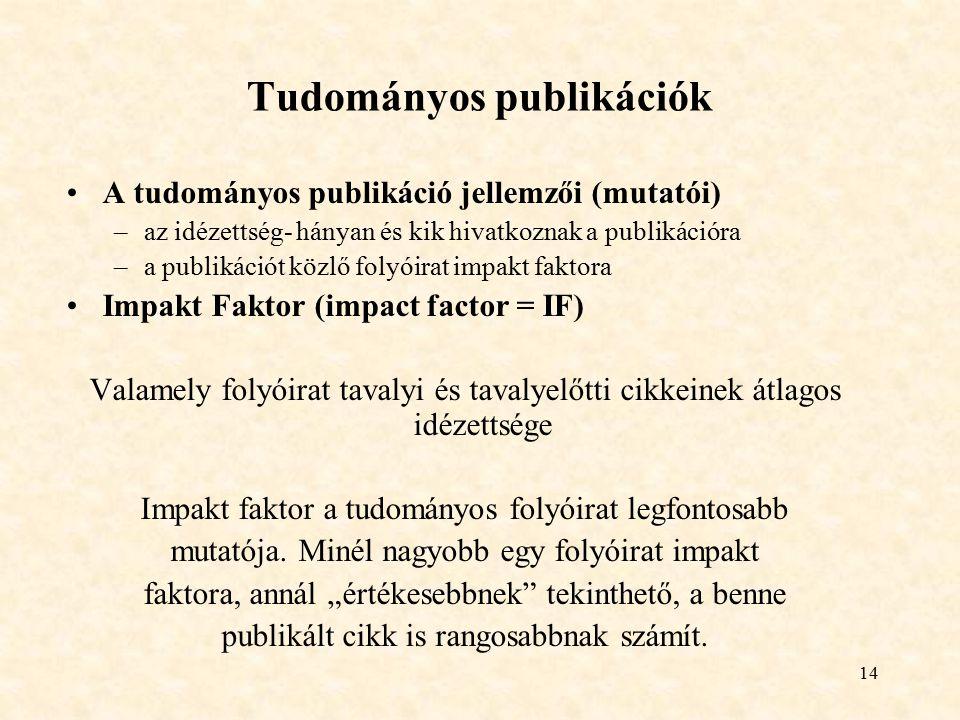Tudományos publikációk