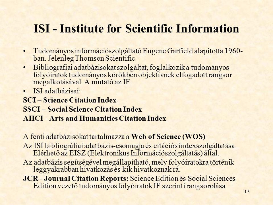 ISI - Institute for Scientific Information
