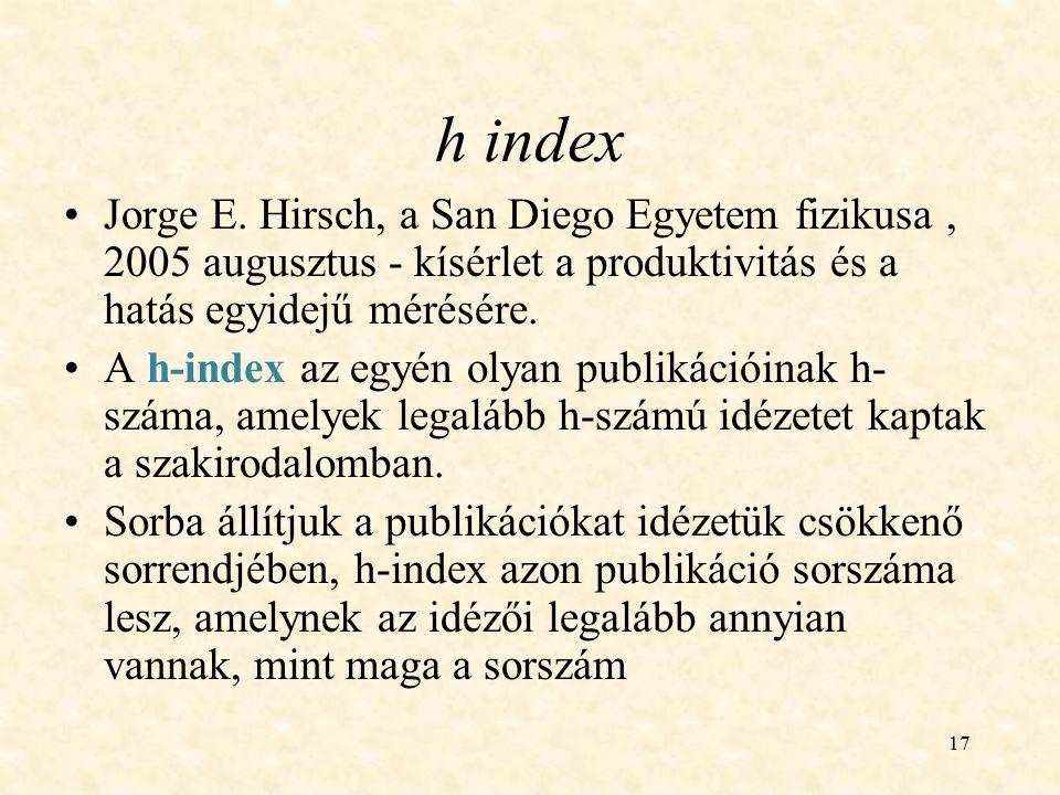 h index Jorge E. Hirsch, a San Diego Egyetem fizikusa , 2005 augusztus - kísérlet a produktivitás és a hatás egyidejű mérésére.