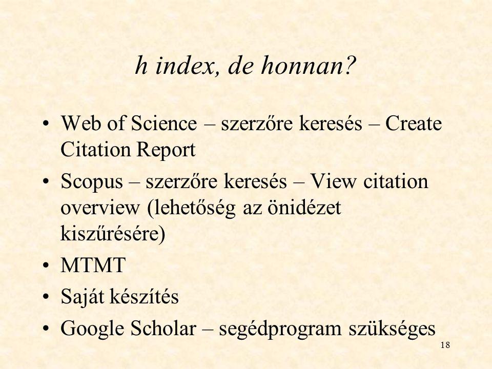 h index, de honnan Web of Science – szerzőre keresés – Create Citation Report.