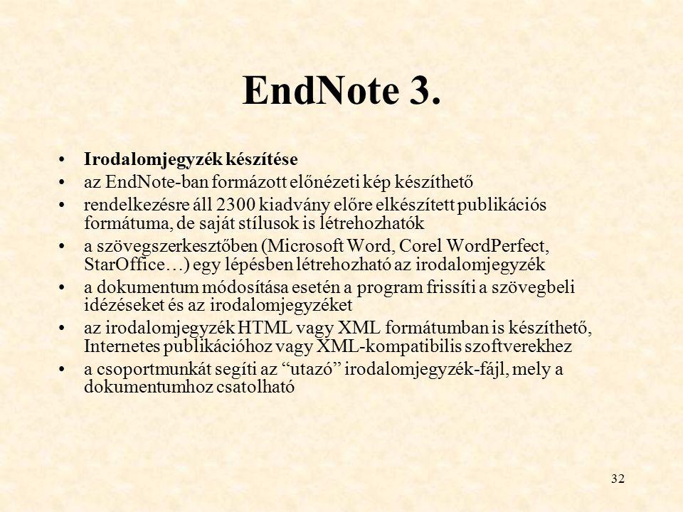 EndNote 3. Irodalomjegyzék készítése