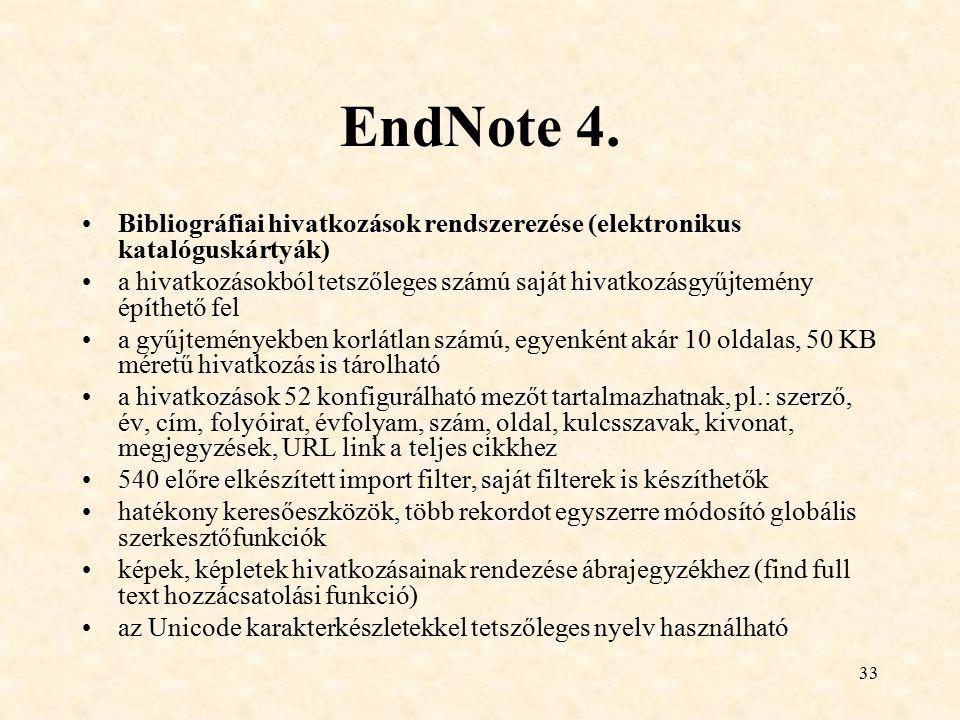 EndNote 4. Bibliográfiai hivatkozások rendszerezése (elektronikus katalóguskártyák)