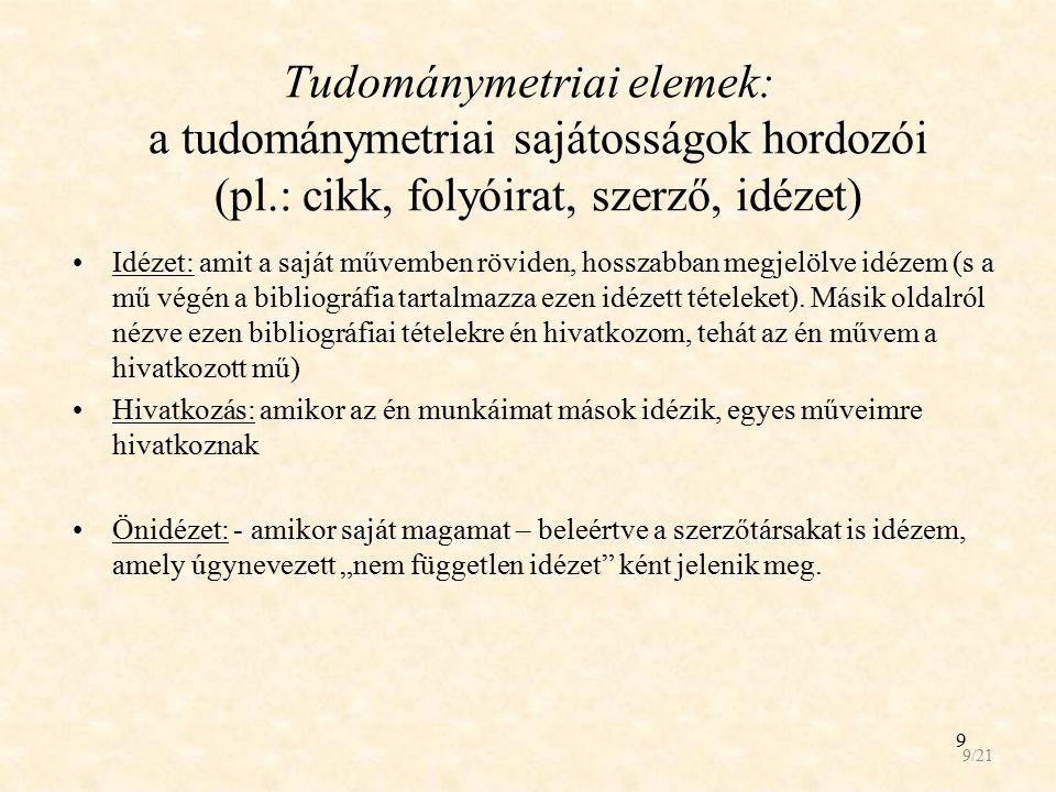 Tudománymetriai elemek: a tudománymetriai sajátosságok hordozói (pl