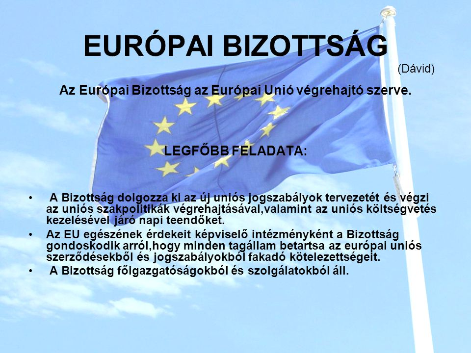 Az Európai Bizottság az Európai Unió végrehajtó szerve.