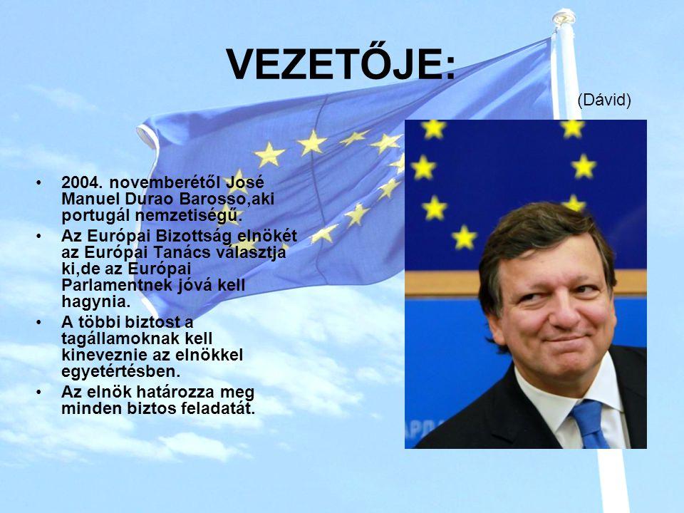 VEZETŐJE: (Dávid) 2004. novemberétől José Manuel Durao Barosso,aki portugál nemzetiségű.