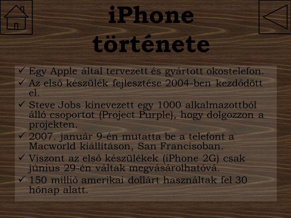iPhone története Egy Apple által tervezett és gyártott okostelefon.
