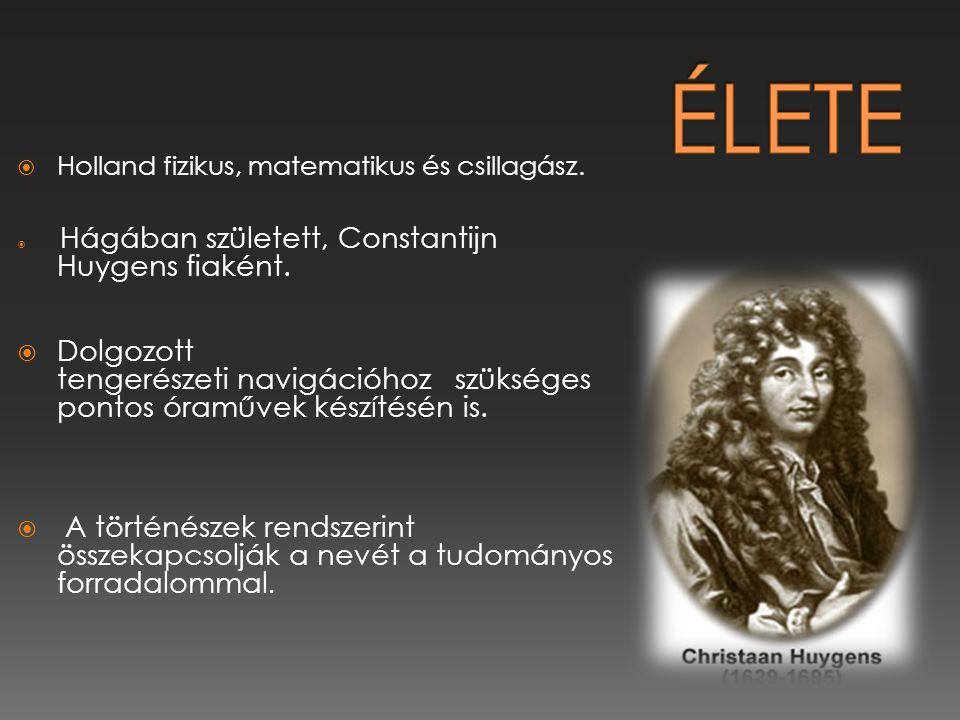 Élete Holland fizikus, matematikus és csillagász. Hágában született, Constantijn Huygens fiaként.